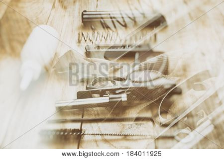 Abstract background with two layers disassembled Makarov pistol
