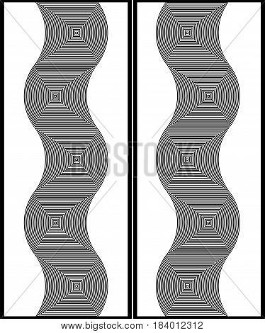 Optical Illusion Art Abstract Background. Black And White Monochrome Geometrical Hypnotic Wavy Patte