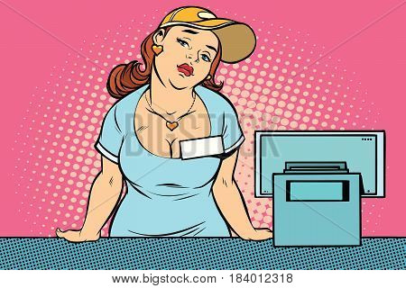 Bored retro woman seller at the checkout. Comic cartoon style pop art illustration