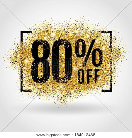 Gold sale 80 percent on gold background. Gold sale background for flyer, poster, shopping, for sale sign, discount, marketing, selling, banner, web header. Gold blur background
