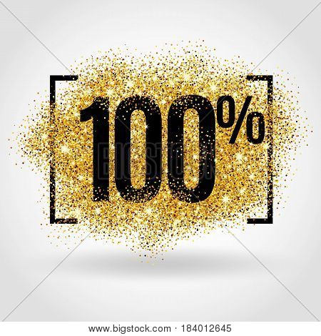 Gold sale 100 percent on gold background. Gold sale background for flyer, poster, shopping, for sale sign, discount, marketing, selling, banner, web header. Gold blur background