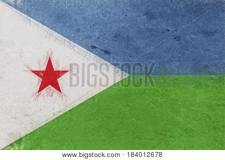 Illustration of the national flag of Djibouti with a grunge look.