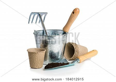 Garden tools for planting isolated on white