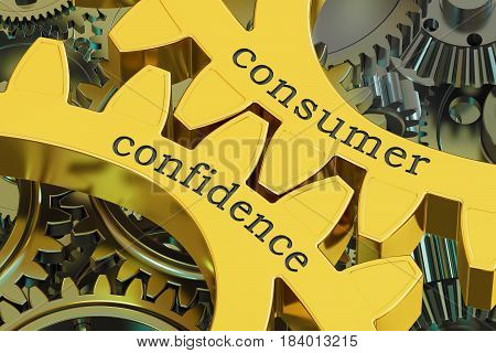 Consumer Confidence concept on the gears 3D rendering