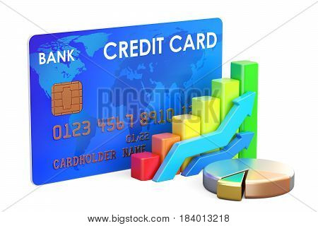 Credit card with chart and diagram 3D rendering isolated on white background