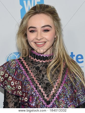 LOS ANGELES - APR 18:  Sabrina Carpenter arrives for the WE Day California 2017 on April 27, 2017 in Inglewood, CA