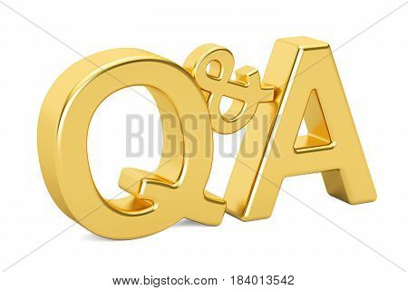 Q&A golden inscription 3D rendering isolated on white background
