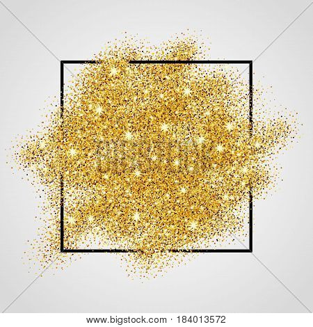 Gold sparkles on white background in frame. Gold glitter background. Gold background for card, vip exclusive certificate, gift, luxury privilege, voucher store present, shopping.