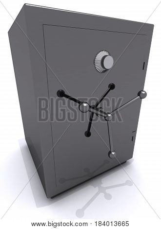 gray metal safe closed 3D illustration finance