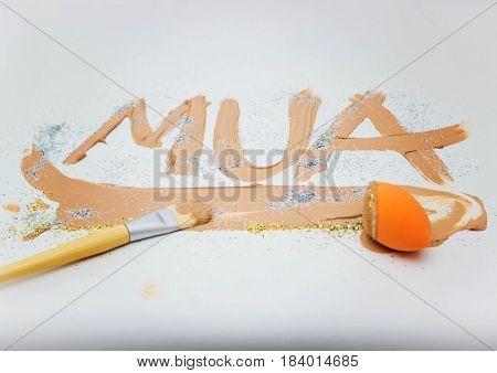 Flat brush for makeup face cream cream smears