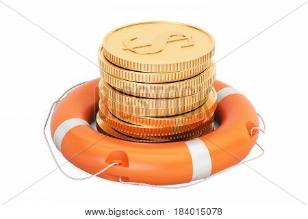 Lifebuoy with golden coins 3D rendering isolated on white background