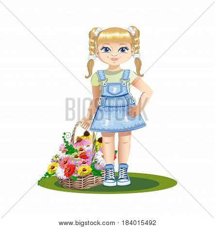 cute little girl with a basket of flowers. Vector illustration.