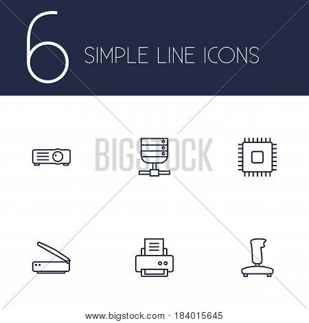 Set Of 6 Laptop Outline Icons Set.Collection Of Gamepad, Server, Printer And Other Elements.