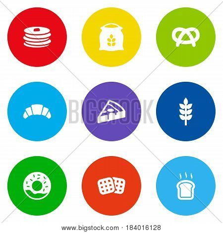 Set Of 9 Cook Icons Set.Collection Of Crepe, Sack, Slice Bread And Other Elements.