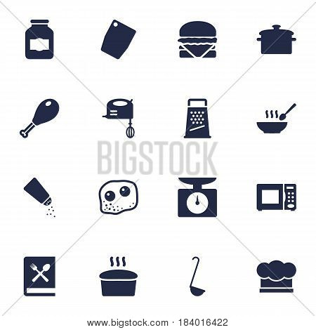 Set Of 16 Kitchen Icons Set.Collection Of Saucepan, Cutting Surface, Poultry Foot And Other Elements.
