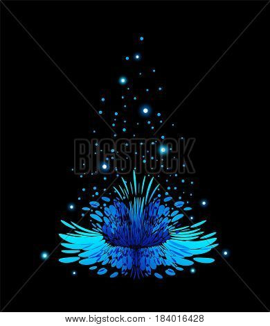 Blue magical flower with pollen on black background