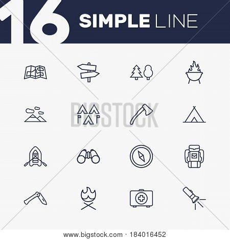 Set Of 16 Camping Outline Icons Set.Collection Of Rubber Boat, Compass, Encampment And Other Elements.
