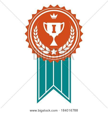 Winner badge design. Vector colorful award with crown wheat wreath and cup