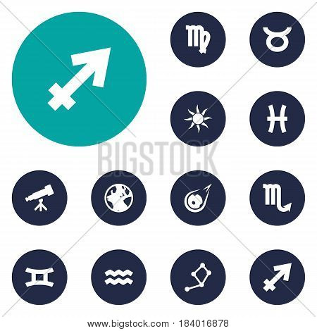 Set Of 12 Astrology Icons Set.Collection Of Water Bearer, Fishes, Earth Planet And Other Elements.