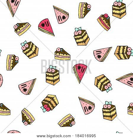 Seamless vector pattern with doodle sweet cakes with berries. Color illustration of cute desserts.