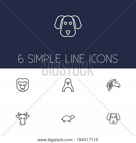Set Of 6 Brute Outline Icons Set.Collection Of Cow, Turtle, Lion And Other Elements.