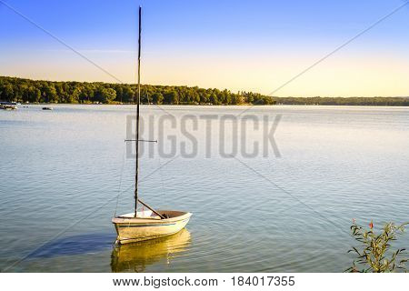 Tranquil morning on Lake Leelanau in Leland, Michigan