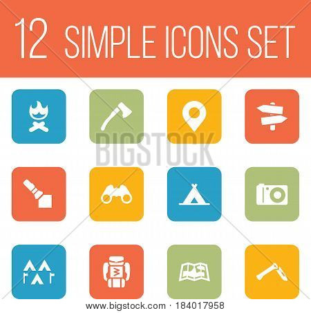 Set Of 12 Outdoor Icons Set.Collection Of Map, Photo Camera, Campfire And Other Elements.