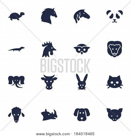 Set Of 16 Beast Icons Set.Collection Of Rhinoceros, Gecko, Kine And Other Elements.