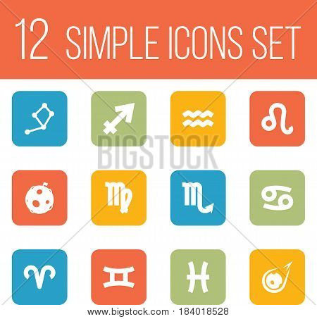 Set Of 12 Astronomy Icons Set.Collection Of Twins, Fishes, Archer And Other Elements.