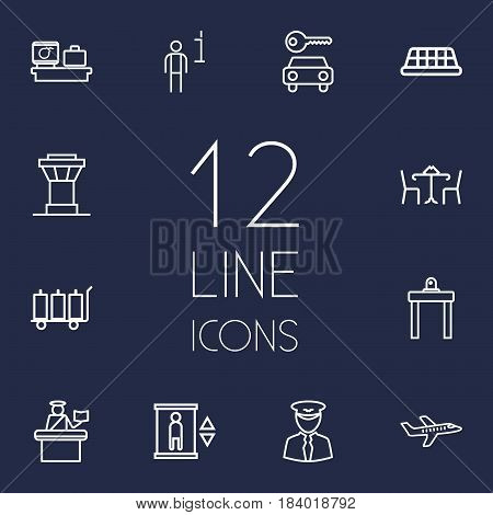Set Of 12 Aircraft Outline Icons Set.Collection Of Car Rent, Data, Passport Controller And Other Elements.
