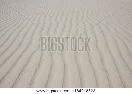 White Sands National Monument has sand so white, it lwould be confused with snow if it weren't for the ripples.