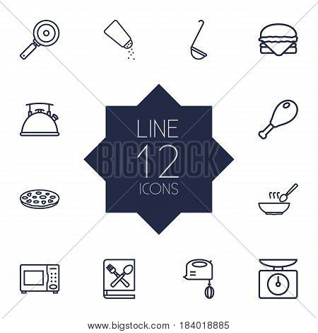 Set Of 12 Culinary Outline Icons Set.Collection Of Mixer, Scales, Ladle And Other Elements.