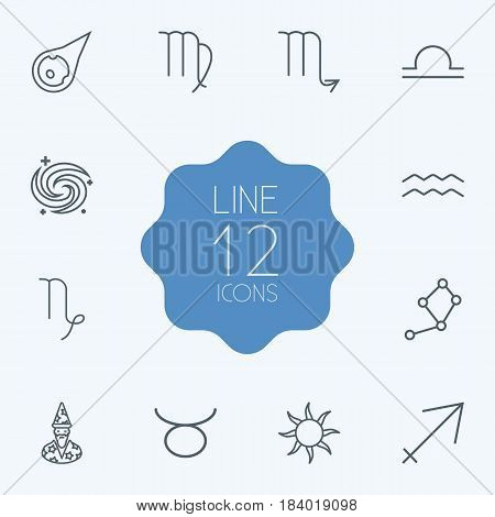 Set Of 12 Astrology Outline Icons Set.Collection Of Galaxy, Astrologer, Asteroid And Other Elements.