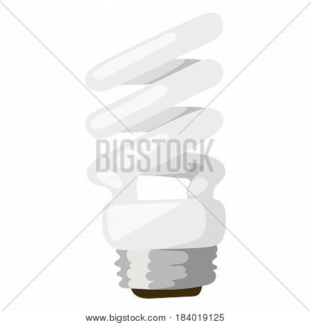 White energy saving lamp. Illustration saving bulbs isolated on white background. Electricity fluorescent power saving bulbs. Electric technology glass saving bulbs environmental.