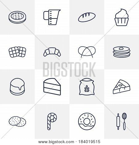 Set Of 16 Oven Outline Icons Set.Collection Of Flour, Pizza, Bread And Other Elements.
