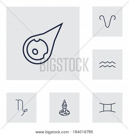 Set Of 6 Horoscope Outline Icons Set.Collection Of Gemini, Astrologer, Capricorn And Other Elements.