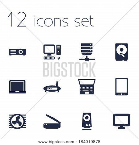 Set Of 12 Laptop Icons Set.Collection Of Show, Display, Amplifier And Other Elements.