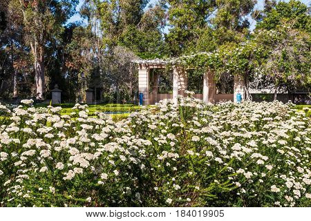 SAN DIEGO, CALIFORNIA - APRIL 28, 2017:  The Alcazar Garden in Balboa Park, a formal garden inspired by the Alcazar Castle gardens in Spain and planted with 7000 annuals yearly.