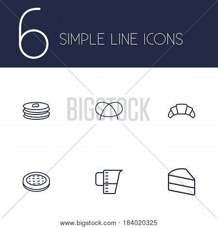 Set Of 6 Bakery Outline Icons Set.Collection Of Apple Pie, Pancakes, Pretzel And Other Elements.