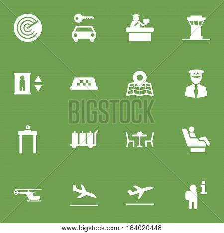 Set Of 16 Aircraft Icons Set.Collection Of Automobile, Radiolocator, Data And Other Elements.