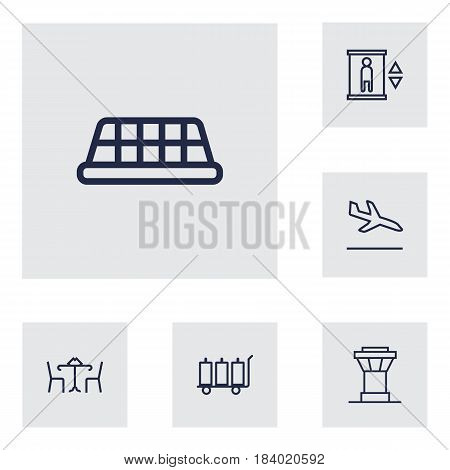 Set Of 6 Land Outline Icons Set.Collection Of Elevator, Cafe, Control Tower And Other Elements.