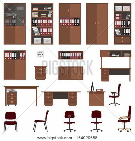 Set of office furniture isolated on a white background. There are filing cabinets, shelves, desks, chairs and other objects in the picture. Vector flat illustration.