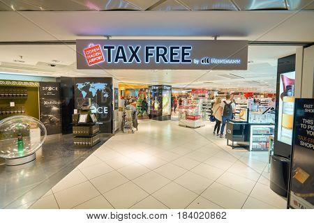 COPENHAGEN, DENMARK  - CIRCA SEPTEMBER, 2014: Tax Free at Copenhagen Airport, Kastrup.