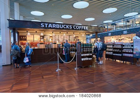 COPENHAGEN, DENMARK  - CIRCA SEPTEMBER, 2014: Starbucks coffee shop at Copenhagen Airport, Kastrup.