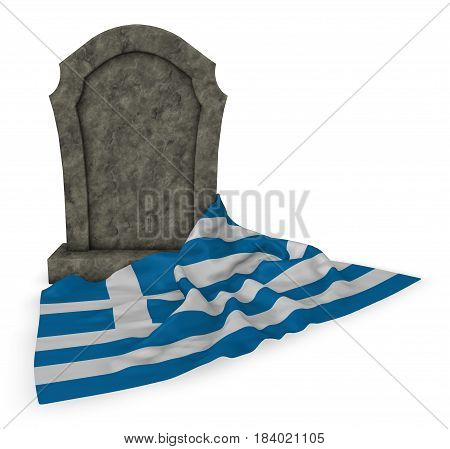gravestone and flag of greece - 3d rendering