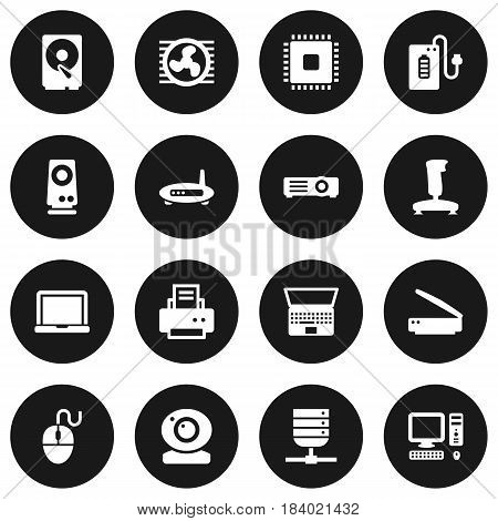 Set Of 16 Laptop Icons Set.Collection Of Notebook, Fan, Datacenter And Other Elements.