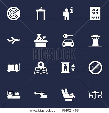 Set Of 16 Airplane Icons Set.Collection Of Security, Chopper, Carriage And Other Elements.