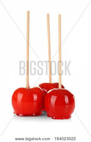 Candy apples on white background
