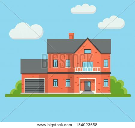 Real Estate Brick House Building Private Property with Garage Trees and Clouds. Modern Flat Design Vector Illustration