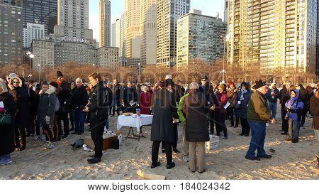 Easter Sunday Sunrise Service by Fourth Presbyterian Church, Oak Street Beach, Chicago, March 27th, 2016